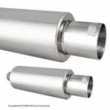 DC Sport Stainless Steel Round Muffler and Slant Cut Exhaust Tip