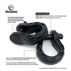 GearAmerica Mega Shackles, Black (2 pack)