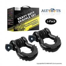 "AUTOBOTS D Ring Shackles 3/4"", Black (2 pack)"
