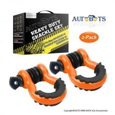"""AUTOBOTS D Ring Shackles 3/4"""", Orange (2 pack)"""