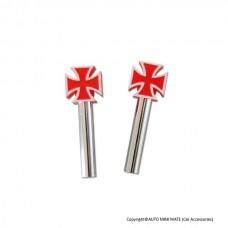 Iron Cross Door Lock Knobs (Red)